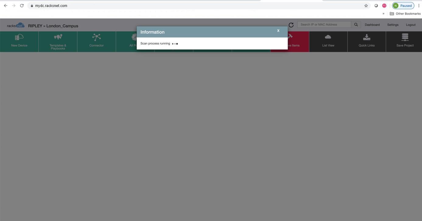 Netzwerkscan mit racksnet® Screenshot