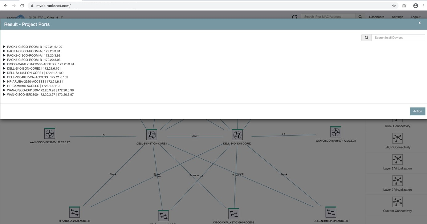 Results of the port analysis with the racksnet® Port Setting Wizard