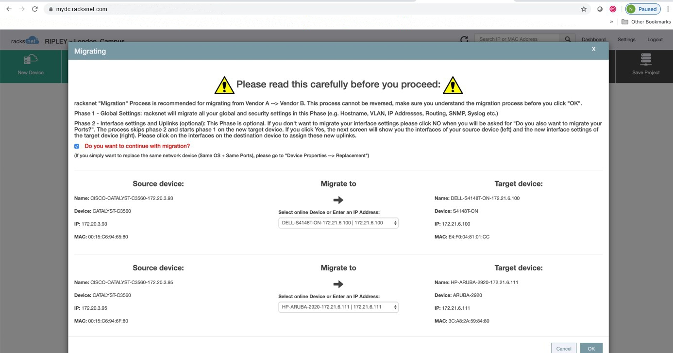 Hinweis bei Vendor Migration von Cisco zu Dell im racksnet® Network Automation Tool